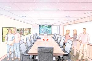 Renovated conference room rendering