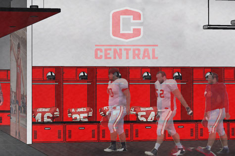 Renovated locker room rendering